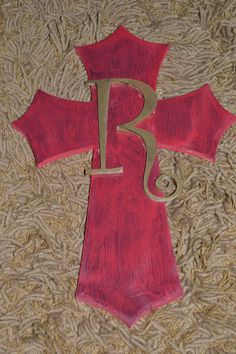 Hand painted Cross with Monogram Letter Decorative Crosses, Hand Painted Crosses, Wood Letters, Monogram Letters, Wood Scrapbook Paper, Cowgirl Bedroom, Diy Ideas, Craft Ideas, Mosaic Crosses