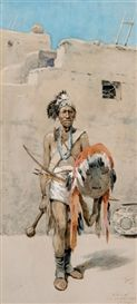 Artwork by Henry Francis Farny, Nyutchi, The Old War Chief, Zuni, Made of Watercolor and Gouache kp