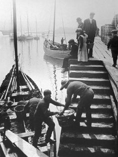 Victorian photos - Cobles in Art & Antiques - Unloading the catch at either Whitby or Scarborough, Yorkshire