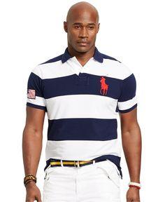 Polo Ralph Lauren Big & Tall Classic-Fit Striped Mesh Polo - Polo Ralph Lauren - Men - Macy's