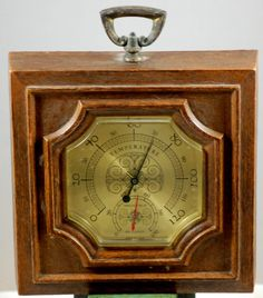 Vintage Faux Wood Springfield Square Thermometer Barometer #Springfield