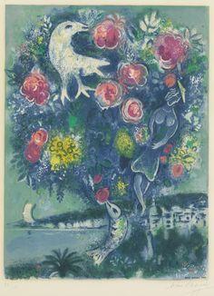 After Marc Chagall, by Charles Sorlier -   La Baie des Anges au Bouquet de Roses (Charles Sorlier 30),  lithograph in colours, 1967