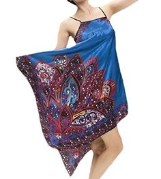 ARRIVE GUIDE Womens Sexy Ethnic Print Loose Satin Tank Summer Nightgown  Royal blue X-Large fb089fee6