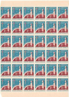 CHRISTMAS STAMPS 1951 PART SHEET OF 36 UMM
