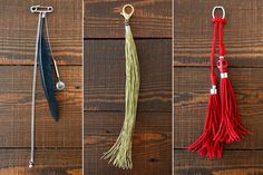 Three Easy Bag Tassels  Your tried-and-true bag called and wants a little pick-me-up. Whether you make one or all three, these tassels will add flair to any purse on the go.