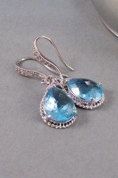 Sky PetalsEarringsAquamarine EarringsSilver by ValleyGirlDesigns, $34.00