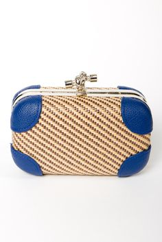 woven clutch with removable chain strap