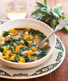 BUTTERNUT SQUASH SOUP WITH CANELLINI BEANS + GREENS