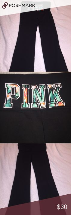 """NEVER WORN VS PINK Foldover Waist Yoga Legging They have never been worn and are in perfect condition. The back of the fold over waist band features  """"PINK"""" written in a tropical theme. Boot cut legs!          Open to offers!  PINK Victoria's Secret Pants Leggings"""