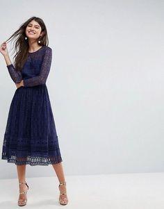 ASOS   ASOS PREMIUM Lace Skater Midi Dress