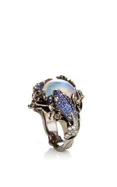 18K Yellow Gold 13Th Sign Ring With Diamonds, Sappires And Moonstone by Lydia Courteille for Preorder on Moda Operandi