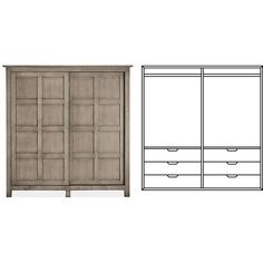 Room & Board - Bennett Anywhere Armoire with Double Short Wardrobes & Six Drawers
