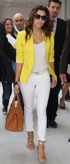 yellow blazer + white pants