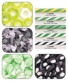 green, black and white candy