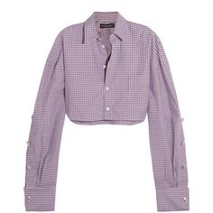 Y/PROJECT Cropped checked cotton-poplin shirt (€270) ❤ liked on Polyvore featuring tops, shirts, blue, long-sleeve crop tops, purple crop top, checkered shirt, blue top and cropped tops
