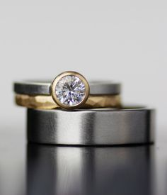 Modern wedding band set - unique palladium and gold stacking wedding rings - his and hers, his his, hers hers - handmade, recycled, and conflict free by lolide on Etsy