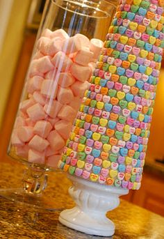 Conversation Heart topiary tree-  This could be done on a small scale for kids at parties and just use frosting to attach it to a cone drink cup.