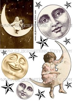Digital Collage Sheet Vintage Moon and Stars by CLBcreations, $2.50