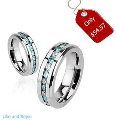 Aqua Paragon - Glowing Stainless Steel Ring with Embedded Aquamarine and Crystal Cubic Zirconias #BuyBlueSteel