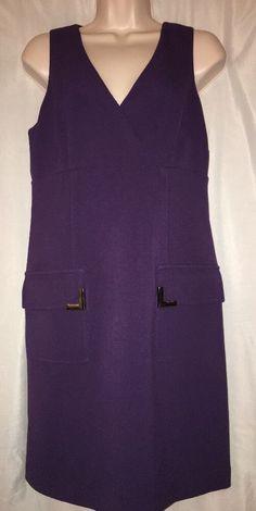 Michael Kors Sheath Dress Size 8 Purple Silver Pocket Fully Lined Sleeveless  | eBay
