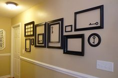 Empty frame & key decor idea.  Maybe a mix of black and white?