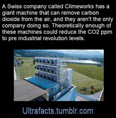 Swiss company, Climeworks, has a machine that removes carbon dioxide from the air. Save Our Earth, Save The Planet, The More You Know, Good To Know, Wtf Fun Facts, Bizarre Facts, Change The World, In This World, Faith In Humanity Restored