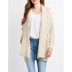 b0c42da5dd7f2 Charlotte Russe Cable Knit Open-Front Cardigan ( 20) ❤ liked on Polyvore  featuring tops