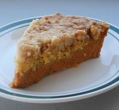 Pumpkin Pie Crumble  (pumpkin pie filling, 1 box yellow cake mix, 1/2 cup plus 1 tablespoon salted butter)