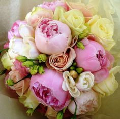 Pink, yello, and green boquet. Love for bridesmaids