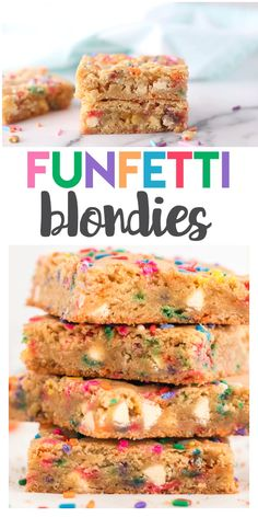 These Funfetti Blondies are slightly crunchy but also soft in the insides. The batter is filled with white chocolate and rainbow sprinkles. It's a sweet and colorful treat all with enjoy! Layer Cake Recipes, Sheet Cake Recipes, Fudge Recipes, Sheet Cakes, Desserts For A Crowd, Great Desserts, Delicious Desserts, Dessert Recipes, Hot Chocolate Fudge