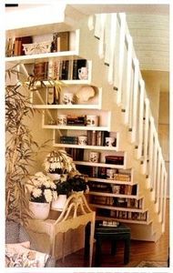 "DREAMING: BOOK NOOK ~ i would combine this with the ""Reading Nook"", for a nearly perfect Under the Stairs Reading Nook!!!!  ~  I would do a solid wall from the floor up to about the 3rd or 4th stair tread, & put one end of the reading seat right up to it, then start the shelving above that."