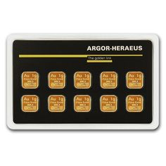 79722 10x 1 gram Gold Bar - Argor-Heraeus .9999 Fine Purity