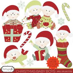 10 cute christmas baby boy clipart, perfect for cards, birthdays, christmas decorations, baby showers, scrapbooking and more.