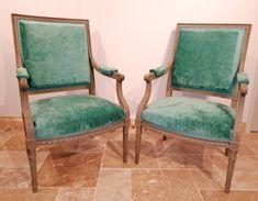 """Paire de fauteuils style Louis XVI dossiers """" à la Reine """" époque XIXème restaurés. Restaurant, Louis Xvi, Dining Chairs, Furniture, Home Decor, Style, Armchairs, Queen, Home Ideas"""