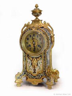 Un fino reloj de bronce dorado y esmalte Champlevé reloj (c. 1880 Francia) de Adrian Alan