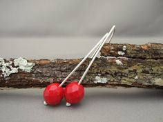 Poppy Red Czech Glass Sterling Silver Modern by TheSilverForge, $29.00