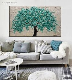 Original Textured Turquoise Tree Painting by Nata S. Breathe warmth and life into any interior by introducing custom hand painted artwork! A great alternative to mass produced prints, each painting is Tree Of Life Artwork, Tree Of Life Painting, Oil Painting Flowers, Tree Art, Abstract Landscape Painting, Landscape Paintings, Abstract Art, Art Blanc, Grand Art Mural