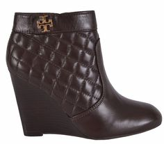 NEW Tory Burch Women's Leila Brown Quilted Leather Wedge Ankle Boots Shoes 8 #ToryBurch #AnkleBoots