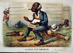 """A sage old smoker: """"Capital cigar, don't wonder de kids like em!"""""""