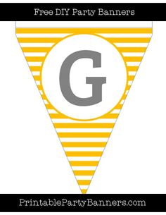 Amber and White Pennant Horizontal Striped Capital Letter G