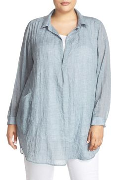 Melissa McCarthy Seven7 Patch Pocket Tunic Shirt (Plus Size)