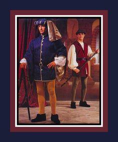 RENAISSANCE LORD & Man Servant-Costume Sewing Pattern-Jacket with Bell Sleeve-Hat-Leggings-Shirt-Vest-Belt -Uncut- Size Small-Medium-Rare by FarfallaDesignStudio on Etsy