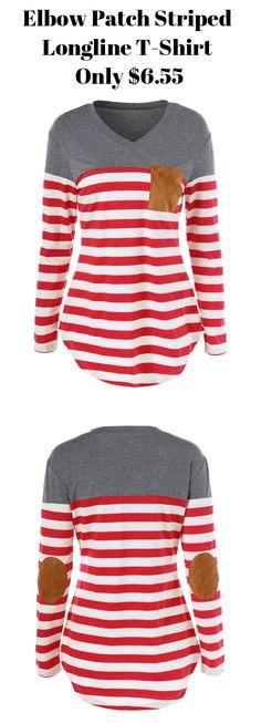 Elbow Patch Striped Longline T-Shirt,$6.55,sammydress,sammydress.com