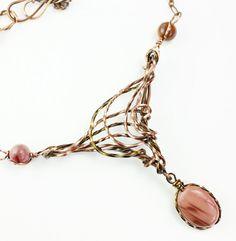 Copper and Bronze Imperial Jasper Art Nouveau Necklace; Woojoo