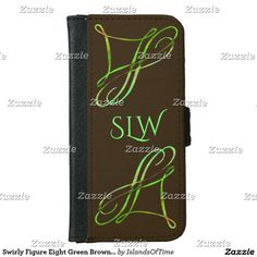 Swirly Figure Eight Green Brown Monogram Template Wallet Phone Case For iPhone 6/6s