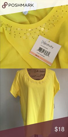 NWT Relativity sunshine bright knit top NWT. Bold beautiful yellow with iridescent sequins at neckline Relativity Tops