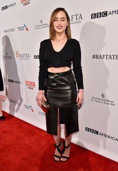 Pin for Later: On Donnerait des Récompenses à Ces Stars Tellement Leurs Looks Pré Golden Globes Sont Réussis Emilia Clarke à la tea party organisée en l'honneur des BAFTA Awards de 2016