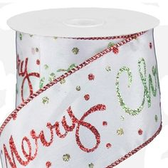 "White ribbon w/ MERRY CHRISTMAS Script Printed Ribbon Wired Edge - 2.5"" x 10 yd"