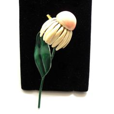 Signed SANDOR CO. Enamel Daisy  Flower Brooch Pin  by JoolsForYou
