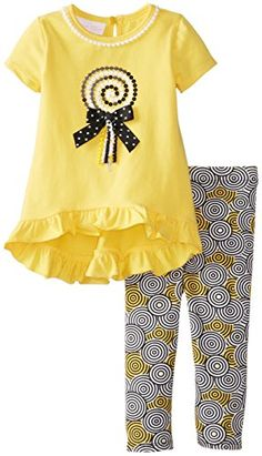 Yellow and black lollipop appliqued legging set. Newborn Girl Outfits, Baby Girl Dresses, Baby Dress, Kids Outfits, Doll Clothes Patterns, Clothing Patterns, Baby Boy Fashion, Kids Fashion, Kids Nightwear
